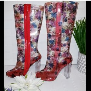 ❤💥 Wild diva clear floral red striped boots